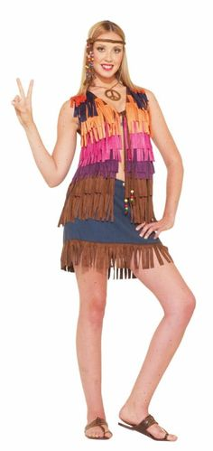 Hippie Fringed Vest - Plus Size Decade Costume Accessories. The Costume Land 05a50260bfe
