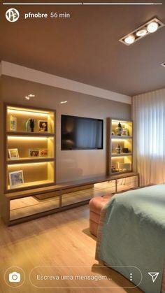 Tv In Bedroom, Master Bedroom Design, Bedroom Inspo, Bedroom Furniture, Bedrooms, White Kitchen Cart, Reading Room, Tv Unit, Living Room Decor