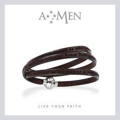 AMEN: il bracciale in cuoio con incisa la preghiera che più ami www.amencollection.com