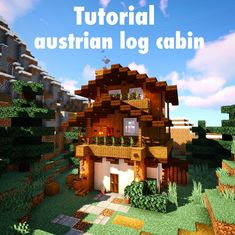 ~ Austrian log cabin tutorial ~ ✏️I know I know, it's a very complicated design, but let me just simplify it, it's actually easier then you… Minecraft Log Cabin, Modern Minecraft Houses, Minecraft Houses Blueprints, Minecraft Plans, Minecraft Architecture, Minecraft Buildings, Minecraft Building Guide, Minecraft House Tutorials, Minecraft House Designs