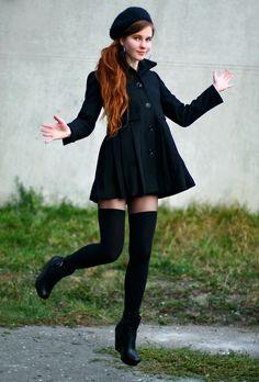 Ariadna Majewska - Asos Black Coat, H&M Black Hat, Asos Leather Buckle Wedge Boots, Black Knee Socks, Silver Earrings, Black Tights - Hey, winter is coming! | LOOKBOOK