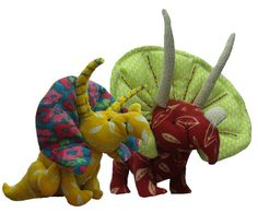 Soft toy dinosaur sewing pattern.  Fabric by pcbangles on Etsy