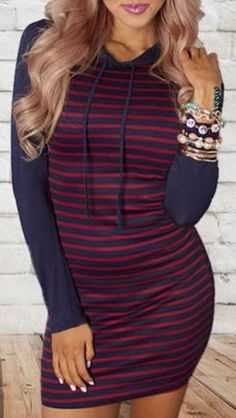 Casual Style Hooded Long Sleeve Striped Bodycon Women's Dress #Hoodie #Style…