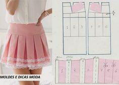 Para fazer os moldes destes modelos de saias curtas interprete os desenhos e faça a transformação. Se por acaso não tiver experiência em modelagem faça...