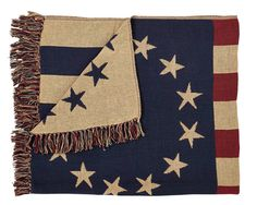 Quilts~ *PriMiTiVe Country *Old Glory Throw Woven 50x60 100% Cotton ~Quilt #VhcBrands #RusticPrimitive