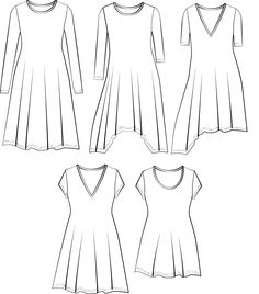 Snha Tunic dress PDF sewing pattern variations