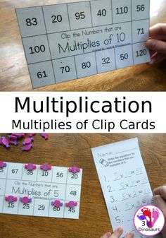 Multiplication: Multiplies of Clip Cards - a fun way to work on multiplication and skip counting numbers with clip cards and recording sheets - 3Dinosaurs.com #3dinosaurs #multiplication #clipcarts #mathforkids