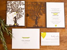 Georgie + Dave's Nature-Inspired Wedding Invitations - yellow and brown - laser cut tree Letterpress Wedding Invitations, Unique Wedding Invitations, Wedding Stationery, Rustic Invitations, Faire Part Nature, Theme Nature, Laser Cut Invitation, Invitation Ideas, Invitation Suite