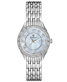 Bulova Watch, Women's Crystal Dress Stainless Steel Bracelet 27mm 96L164 - All Watches - Jewelry & Watches - Macy's