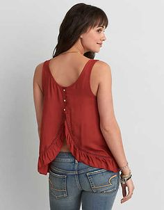 AEO Ruffle Hem Tank , Coral   American Eagle Outfitters