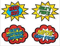 8 Custom Text Superhero Food Cards (Printable) via Etsy Superhero Birthday Invitations, Superhero Birthday Party, 4th Birthday Parties, Birthday Party Decorations, Boy Birthday, Incredible Hulk Party, Party Food Labels, Printable Cards, Printables