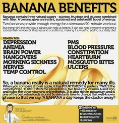 Two bananas provide enough energy for a 90-minute workout. Bananas are also a remedy for mosquito bites.