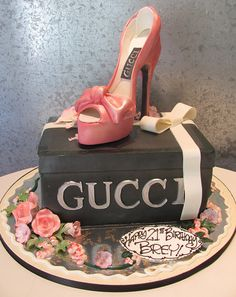 Gucci Shoe on Shoe Box Cake