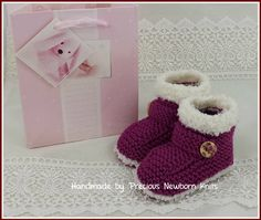 Baby Booties  Knitted Baby Girls Booties  by PreciousNewbornKnits