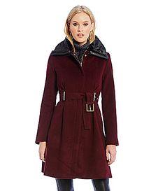 Belle Badgley Mischka Evelyn Wool Coat with FauxFur Collar #Dillards