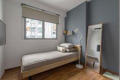 bedroom, grey walls