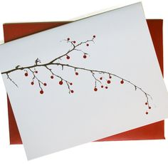 Christmas Cards / Holiday Cards - Berry Branch Cards - set of 24 in white - SAVE Christmas Cards Drawing, Painted Christmas Cards, Simple Christmas Cards, Watercolor Christmas Cards, Watercolor Cards, Xmas Cards, Christmas Art, Holiday Cards, Watercolor Paintings