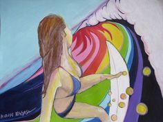 Surf Art - Riding on a Rainbow  Pencil+Acrylic+Oil Pastel on 18 inch x 24 inch linen canvas