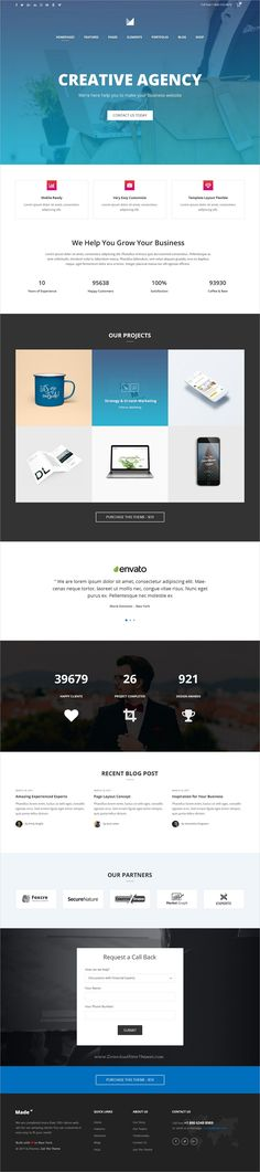 Made is clean and modern design multipurpose PSD template for #creative #agency #website with 36+ niche homepage layouts and 128+ layered PSD files download now..