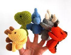 5 dinosaurus finger puppet crocheted stegosaurus by crochAndi, $38.00