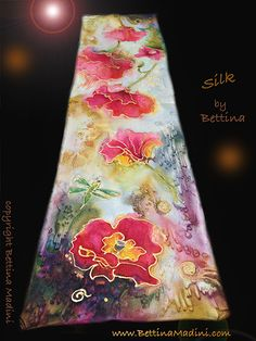 "Lucky Poppies - handpainted original Silk ""Goddess Scarf""- original painting on silk by Bettina Star-Rose silk paint ~ 23.75"" x 6"""