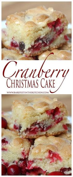 Cranberry Christmas Cake is the ULTIMATE holiday dessert! Get the recipe at barefeetinthekitchen.com