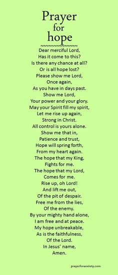 May this prayer for hope inspire you to trust in God's providence for your life. Things may not turn out exactly as you like, but our hope in Jesus allows us to face any trial. Don't give up hope. ...