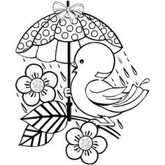 Bird With Umbrella Free Coloring Sheets In