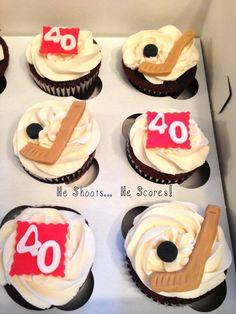 Hockey cupcakes for 40th birthday!