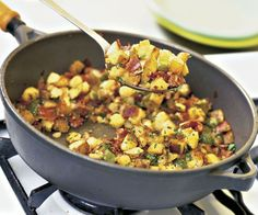 Potato & Ham Hash - I enjoy this hash on its own often right out of the pan—but a couple of fried eggs go well, too. http://www.finecooking.com/recipes/potato-ham-hash.aspx