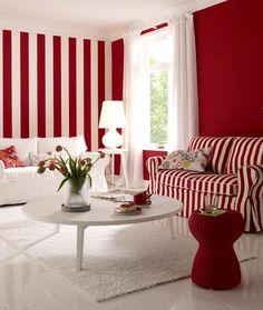 Streifen-Look in Rot-Weiß