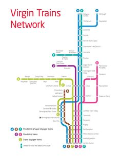 Virgin Trains First Class Return Ticket Voucher Train Line Map, Train Route Map, Bus Route Map, Train Information, Information Graphics, Signage Design, Map Design, Design Layouts, Train Station Map