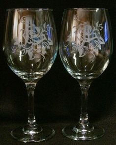 2 Rose Etched Wine Glasses. $19.99, via Etsy.