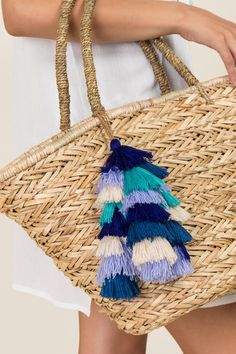 This blue stacked tassel makes a stylish addition to your beach tote or your door knob! Summer Bags, Summer Wear, Spring Summer Fashion, Wicker Purse, Straw Tote, Best Bags, Playing Dress Up, Tassel Necklace, Tassels