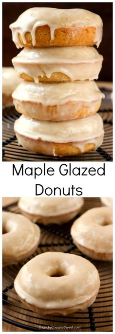 Maple Glazed Donuts - the easiest donuts you can make at home! The cinnamon and maple flavors go so well in this perfect fall treat!
