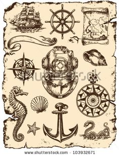 Nautical Vector Illustration Set by Tairy Greene, via ShutterStock