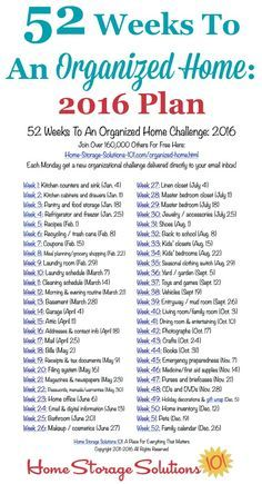 Free printable list of the 52 Weeks To An Organized Home Challenges for 2016. Join over 200,000 others who are getting their homes organized one week at a time! {on Home Storage Solutions 101}                                                                                                                                                                                 More