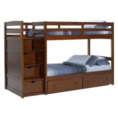 Pine Ridge Front Loading Stair Bunk Bed - Chocolate - Twin over Twin Bunk Beds with stair drawers