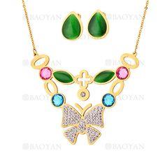 juego collar y aretes de mariposa con piedra brillante en acero dorado inoxidable -SSNEG543337