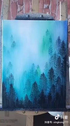 Small Canvas Art, Diy Canvas Art, Acrylic Painting Canvas, Canvas Painting Tutorials, Painting Techniques, Forest Painting, Night Sky Painting, Cool Art Drawings, Brush Kit