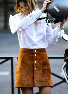 My homage to French style and joie de vivre - biker chic & mini-skirt Paris street style #wow #french #style