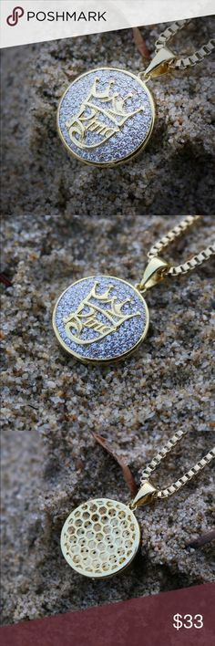 Mini 14k Gold Plated King Charm And Chain Mini 14k Gold Plated King Charm Pendant And Chain  14k gold and rhodium plating.Pendant Size is 20mm.Chain is made of 316 stainless steel.The pendant comes with a 2mm width 20,22,24 or 26 inch length 14k gold plated 316 stainless steel box chain. Ts Verniel Accessories Jewelry