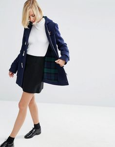 ASOS Wool Blend Duffle Coat with Checked Liner Mid-weight wool-mix fabric Check lining Hooded neckline Classic toggle placket Zip front  Functional pockets Regular fit - true to size Dry clean 47% Polyester, 31% Wool, 16% Acrylic, 3% Nylon, 2% Viscose, 1% Cotton