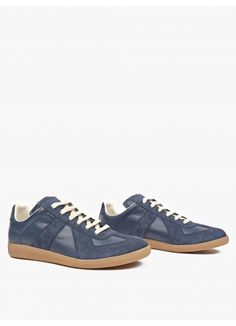 Maison Margiela Navy Leather and Suede REPLICA Sneakers