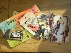 China postcard swap...Jan Armentrout to Kristi Knox Day...back of card w/Chinese art tags by Wan Mei Fang that are tucked into front pocket.