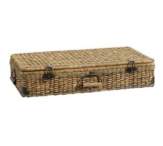 "Underbed Basket   Pottery Barn 38"" wide x 19.25"" deep x 7.75"" high $119"