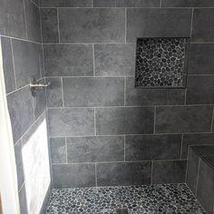 Gray Shower Tile, Grey Bathroom Tiles, Master Bathroom Shower, Bath Tiles, Bathroom Flooring, Bathroom Tile Patterns, Bathroom Tile Showers, Pebble Tile Shower Floor, Bathroom Ideas
