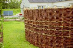 Beautiful woven willow fence - wattle fence - via Pil Hegn & Flet, Denmark
