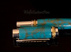 Sterling SilverTitanium Gold Rollerball Pen by WolfeCustomPens, $114.95