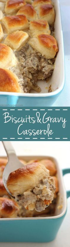 Biscuits and Gravy Casserole quick easy and perfect for feeding a crowd. A southern dish that is comforting and very